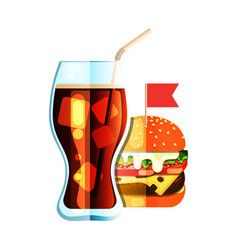 soda and burger flat design color icon vector image