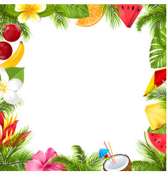 summer fruits poster with hibiscus frangipani vector image