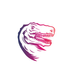 tyrannosaurus rex head of t rex outline vector image