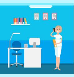 Veterinary clinic interior receptionist woman vector