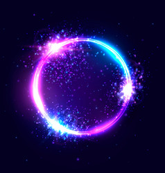 vibrant neon circle with glowing confetti vector image