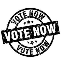 Vote now round grunge black stamp vector