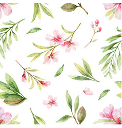 Watercolor seamless pattern pink flowers vector