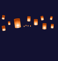 web background with chinese lanterns on a dark vector image