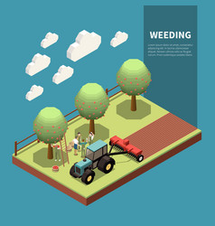 Weeding isometric composition vector