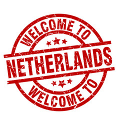 welcome to netherlands red stamp vector image