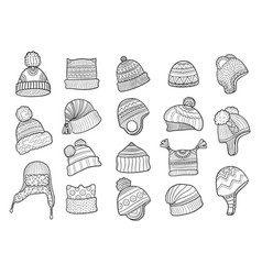 winter doodle hat clothes flapping ears warm hat vector image