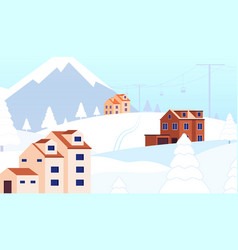 winter holidays resort snow forest cottage vector image