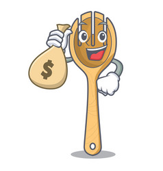 With money bag wooden fork character cartoon vector