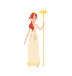 Woman or hera greek goddess stands holding golden vector