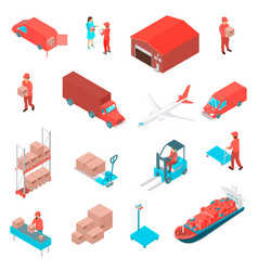 logistic isometric icons set vector image vector image