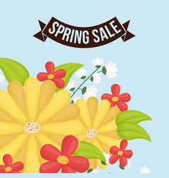 spring sale flowers decorative poster vector image
