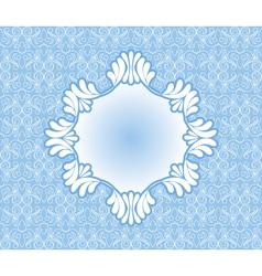 Vintage blue frame on damask background vector image
