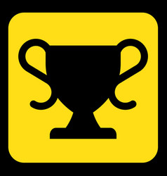 Yellow black information sign - sports cup icon vector