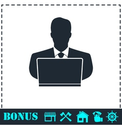 Businessman Working on Computer icon flat vector image