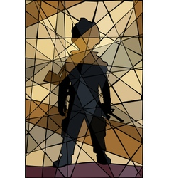 Child soldier mosaic vector image