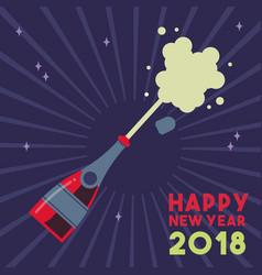 happy new year 2018 party drink bottle splash vector image