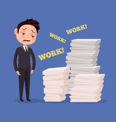 Tired unhappy office worker man character vector