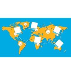 World map with photos vector