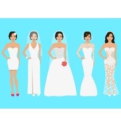 a set of wedding dresses vector image