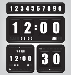 Digital retro clock and calendar vector image vector image