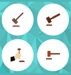 Flat icon hammer set of law defense justice and vector