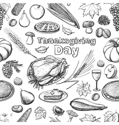 Hand drawn sketch Thanksgiving Day seamless vector image