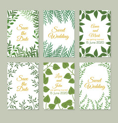 romantic wedding invitation cards with green vector image vector image