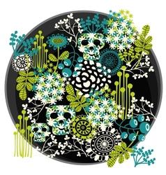 Skulls and flowers vector