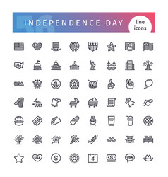 usa independence day line icons set vector image
