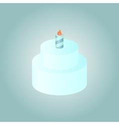 Birthday cake whith burning candle vector image
