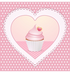 decorative cupcake love heart vector image vector image