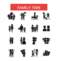family time thin line icons linear vector image