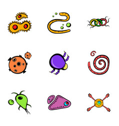 microorganism icons set cartoon style vector image