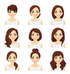 womans hairstyles set vector image vector image