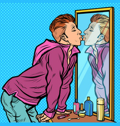 a man kisses his own reflection narcissism ego vector image