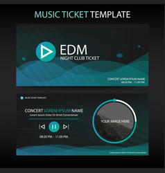 abstract circle green wave music ticket template vector image
