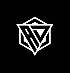 Ad logo monogram with triangle and hexagon shape vector
