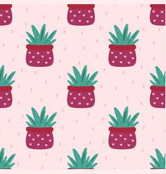 Aloe vera cute seamless pattern vector