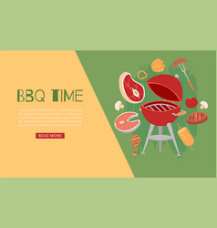 barbecue time banner with grill bbq and grilled vector image