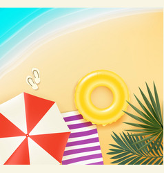 beautiful sand beach with leaves and beach stuff vector image