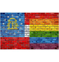 Brick wall georgia and gay flags vector