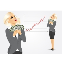 businesswoman enjoying money vector image