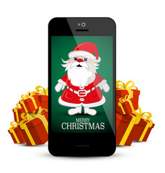 canta claus on mobile phone with red gift boxes vector image