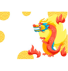 Card with chinese dragon vector