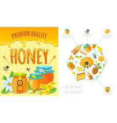 Cartoon beekeeping colorful concept vector