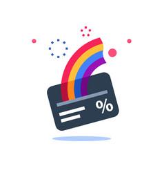 Cash back card loyalty program vector