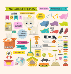 Cat and different pet care accessories for cats vector
