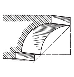 Cavetto a roman moulding consists of a quarter vector