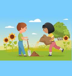 Children plant seeds funny child boy holding vector